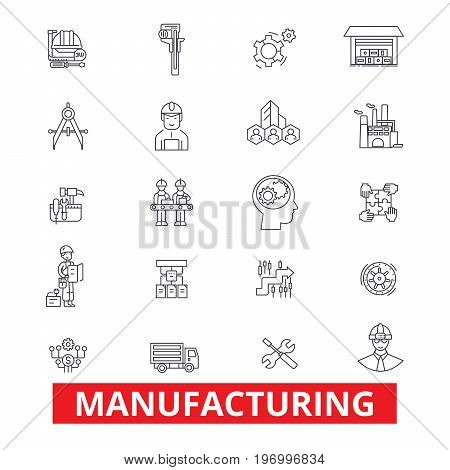 Manufacturing, production, factory, plant, industry, assembling, composition line icons. Editable strokes. Flat design vector illustration symbol concept. Linear signs isolated on white background
