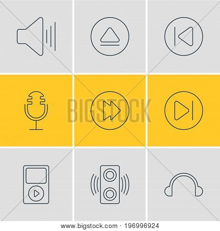 Editable Pack Of Amplifier, Preceding, Subsequent And Other Elements.  Vector Illustration Of 9 Melody Icons.