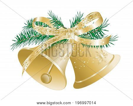 Two golden Christmas bells with luxury bow