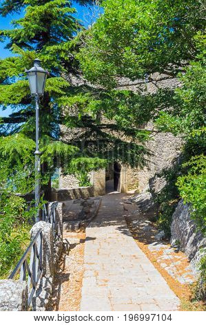 The old stone passage between The Guaita and The Cesta towers of San Marino.