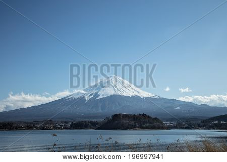 Mt Fuji in the early morning with reflection on the lake kawaguchiko travel