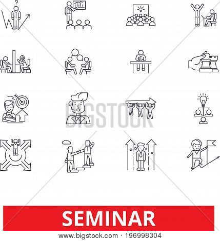 Conference, workshop, presentation, meeting, discussion, lecture, conversation line icons. Editable strokes. Flat design vector illustration symbol concept. Linear signs isolated on white background