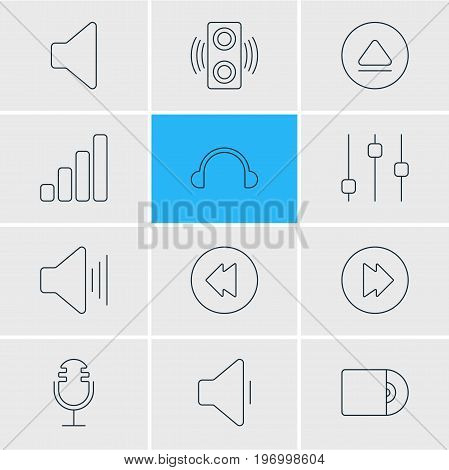 Editable Pack Of Rewind, Reversing, Compact Disk And Other Elements.  Vector Illustration Of 12 Melody Icons.