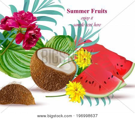 Coconut drink cocktail and watermelon Tropical floral Summer refreshing background Vector illustration