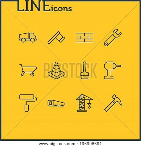 Editable Pack Of Handcart, Hacksaw, Lifting Elements.  Vector Illustration Of 12 Construction Icons.