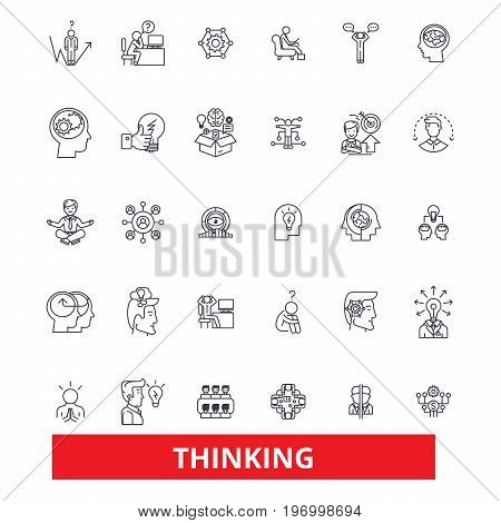 Thinking, idea, brain, thought, mind, dream, thought, reflection line icons. Editable strokes. Flat design vector illustration symbol concept. Linear signs isolated on white background