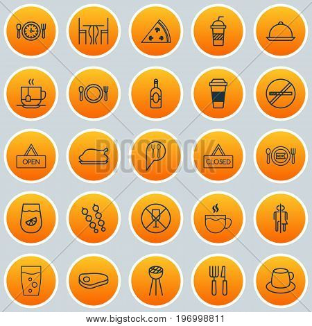 Icons Set. Collection Of Mocha, Stick Barbecue, Grill And Other Elements