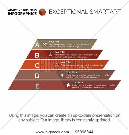 Five stages pyramid diagram. Element of presentation, step diagram, chart. Concept for business infographics, templates, reports. Can be used for topics like strategy, marketing analysis, planning