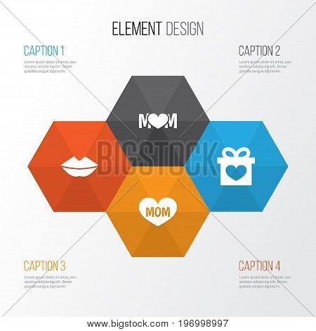 Mothers Day Icon Design Concept. Set Of 4 Such Elements As Mouth, Design And Text