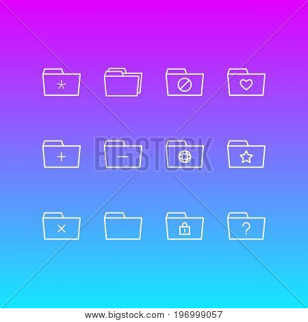 Editable Pack Of Folders, Remove, Plus And Other Elements.  Vector Illustration Of 12 Document Icons.