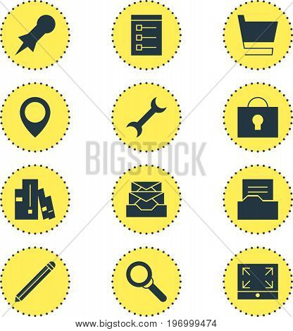 Editable Pack Of Maximize, Magnifier, Bookshelf And Other Elements.  Vector Illustration Of 12 Internet Icons.