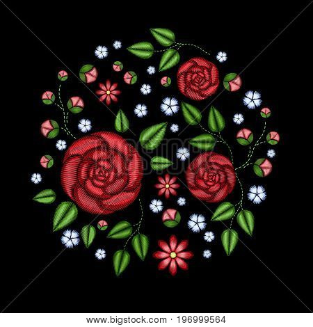 Embroidery roses flowers. Patch for women's, girls' T-shirts. Vector illustration. Graphic tee.