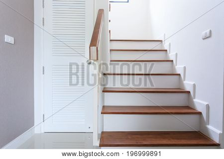 Inside Contemporary White Modern House With Wood Staircase And Pvc Door