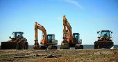Heavy construction equipment backhoe bulldozer poster