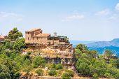 View of the village Siurana de Prades Tarragona Catalunya Spain. Copy space for text poster