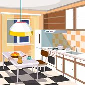Vector cartoon illustration of a retro kitchen interior with kitchen cabinets, a dining table with a cup of hot coffee and fruits, a refrigerator, a cooker, a kitchen hood and kitchen sink poster