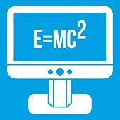 Monitor with Einstein formula icon white isolated on blue background vector illustration poster