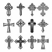 Set of isolated christian and catholicism crosses. Religion crucifix symbol, faith and peace, God and Jesus Christ sign, church decoration. Belief icon, divine and spirituality, worship theme poster