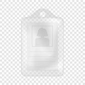Identification white blank plastic id card mockup. Realistic illustration of identification white blank plastic id card vector mockup for web poster