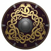 Realistic round shield of the Viking. Medieval wooden armor with iron details. Shield is decorated by runes and original golden ornament in a form of interwoven dragons on a dark reddish-brown field. poster