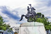 Jackson Statue Lafayette Park White House Pennsylvania Ave Washington DC. Statue created 1850 Clark Mills Sculptor poster