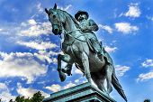 General John Logan Memorial Civil War Statue Logan Circle Washington DC. Statue dedicated in 1901 Sculptors Franklin Simmons and Richard Hunt. Logan was close to US Grant promoted to Brigadier General at Fort Donelson won the Congressional Medal of Honor poster