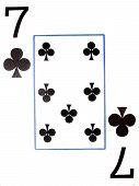 a seven of clubs on a white background poster