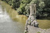 Ruins of Devin castle near city Bratislava Slovakia. Turret over river confluence Morava and danube poster