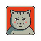 Cute sad grumpy cat icon. Cat avatar. Vector Illustration. poster