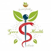 Caduceus vector conceptual emblem created with mortar and pestle. Wellness and harmony metaphor. Alternative medicine concept phytotherapy logo. poster