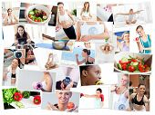 Collage of healthy foods and woman doing fitness exercises poster