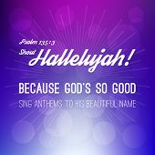 shout hallelujah calligraphic hand lettering from psalm, bible verse for christian with bokeh background poster