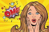 OMG glamorous kitsch pop art blond woman. Pop art retro comic book vector illustration poster