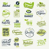 Organic food, farm fresh and natural product signs collection for food market, ecommerce, organic products promotion, healthy life and premium quality food and drink. poster