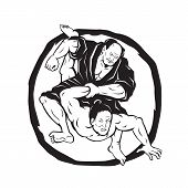 Illustration of two Samurai Jiu Jitsu Judo Fighting grappling with enso Circle in background done Drawing style. poster
