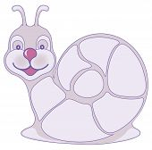 A smiling purple snail over a white background. poster