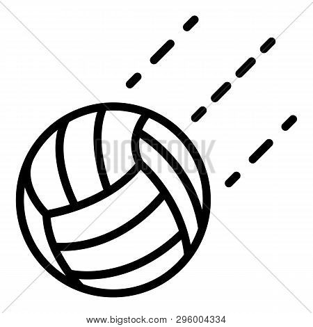 Volleyball Ball In Flight Icon. Outline Volleyball Ball In Flight Vector Icon For Web Design Isolate