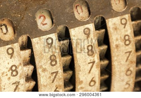 Vintage Manual Adding Machine Isolated On White, Selective Focus - 200