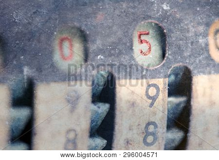 Vintage Manual Adding Machine Isolated On White, Selective Focus - 5