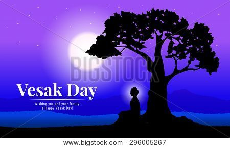 Happy Vesak Day With Buddha Meditation Under Bodhi Tree In Full Moon Night Vector Design