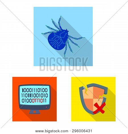 Vector Illustration Of Virus And Secure Sign. Set Of Virus And Cyber Vector Icon For Stock.
