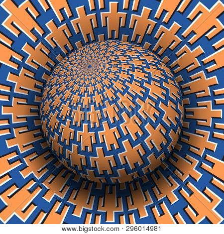 Unity Of People Optical Illusion Concept. Patterned Sphere Soaring Over Moving Surface With Men Symb