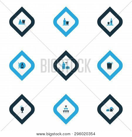 Beverages Icons Colored Set With Glasses, Beer With Burger, Whiskey With Ice And Other Liqueur Eleme