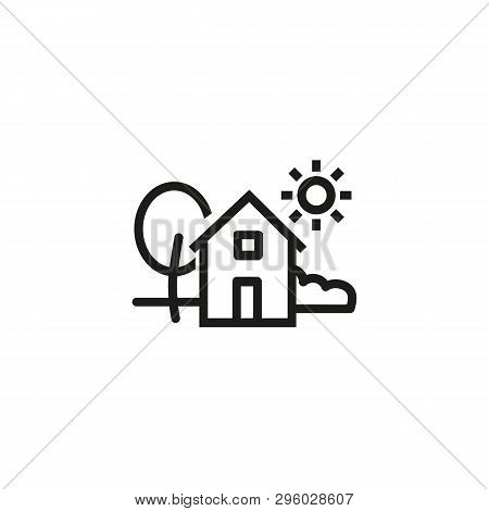 Village Line Icon. Environment, Tree, House, Holiday. Farm Concept. Can Be Used For Topics Like Coun