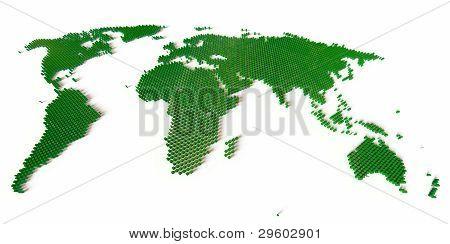 Weltkarte geformt aus tausenden Blocks