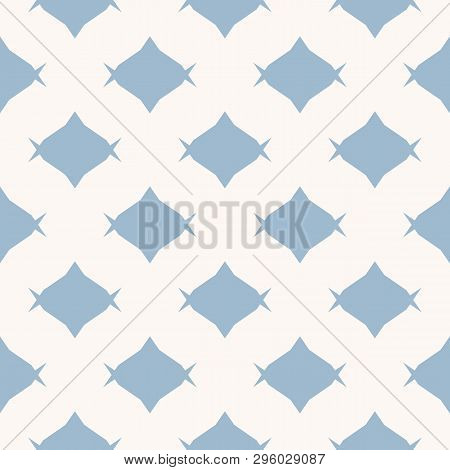 Candy Pattern. Simple Minimal Vector Seamless Texture With Rhombus Shapes, Candies. Abstract Blue An