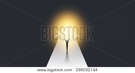 New Possibilities, Hope, Dreams - Business Targets, Solutions Finding Concept - Man Standing On A Bi