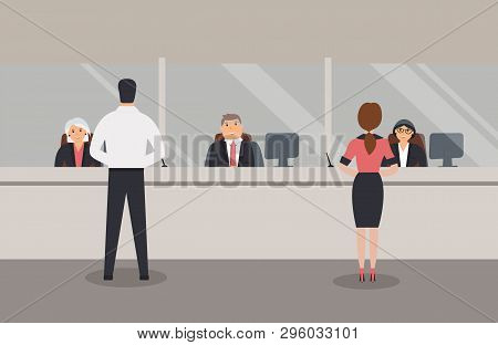 Bank Office Interior:bank Employees Sit Behind A Barrier With Glass And Serve The Bank Customers.ele