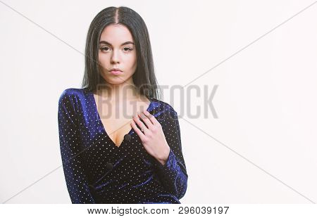Woman Elegant Lady With Makeup Long Hair Wear Velvet Dark Dress With Decolette. Sexy Decollete Fashi