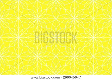Flower Geometric Pattern. Seamless Background. White And Yoellow Rnament. Ornament For Fabric, Wallp